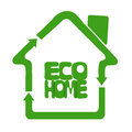 Ecologically eco clean home oriented composed of symbols of recycle sign meaning green solutions Royalty Free Stock Images