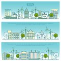 Ecology city banners. Vector template with thin line icons of eco technology, sustainability of local environment