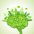Ecology concept with brain illustration of Royalty Free Stock Photos