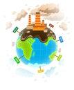 Ecology concept with dirty planet ecocatastrophe eps illustration isolated on white background Royalty Free Stock Photos