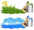 Ecology concept drawing a green grass and blue sky by paint on a white background Stock Photo