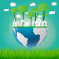 Ecology concept eco friendly and save the earth with grass