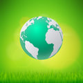 Ecology concept eco friendly and save the earth with grass.