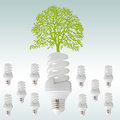 Ecology concept green tree with light bulbs Stock Photo