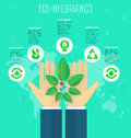 Ecology concept, infographic template. Save world, hands holding green leaves and flower, set eco icons, abstract world map on bac Royalty Free Stock Photo