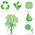Ecology Conservation Icons Royalty Free Stock Photo