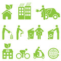 Ecology and environment icon set recycling Stock Image
