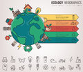Ecology and environment infographics. Green planet with ecology icons. Hand drawn illustration. Vector Royalty Free Stock Photo
