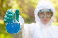 Ecology and environmental pollution. Water testing. Royalty Free Stock Photo