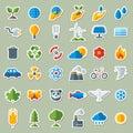 Ecology Flat Icons Stickers Set Royalty Free Stock Photo
