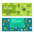 Ecology Flyer Banner Posters Card Set. Vector