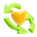 Ecology friendly: recycle arrows and heart symbol Royalty Free Stock Photo