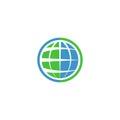 Ecology globe logo, green technology graphic sing, idea natural tech symbol Royalty Free Stock Photo