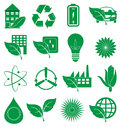 Ecology Green icons set Royalty Free Stock Photo