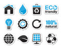 Ecology green recycling icons set black and blue labels eco concept Royalty Free Stock Image