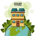 Ecology green world house solar panel forest Royalty Free Stock Photo