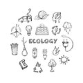Ecology Hand Drawn Icons Set Royalty Free Stock Photo