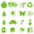 Ecology icon set eco friendly green icons Stock Photos