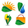 Ecology Icon Set One Stock Photo