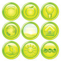 Ecology icon set set green eco buttons vector graphics Stock Photos