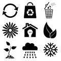 Ecology icons ecological on white vector illustration Stock Photos