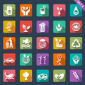 Ecology icons flat design set of Royalty Free Stock Photo