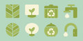 Ecology icons green design vector Stock Photos