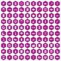 100 ecology icons hexagon violet