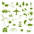 Ecology icons illustration of green Stock Photo