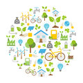 Ecology Icons, Nature Protection, Vector Background Royalty Free Stock Photo