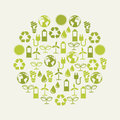 Ecology icons over beige background illustration Stock Images