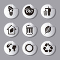 Ecology icons over gray background illustration Stock Photography