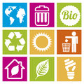 Ecology icons over squares background illustration Stock Photo