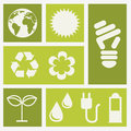 Ecology icons over white background illustration Royalty Free Stock Photography