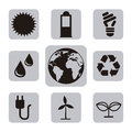 Ecology icons over white background illustration Stock Image