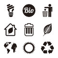Ecology icons over white background illustration Royalty Free Stock Images
