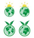 Ecology icons with planet Earth Royalty Free Stock Photo