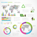 Ecology info graphics collection charts symbols graphic vector elements Stock Images