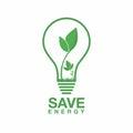 Ecology logo. Energy saving lamp symbol, icon. Eco friendly concept for company logo. Royalty Free Stock Photo