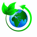 Ecology logo green leaves with an arrow around the planet earth to protect the Stock Image