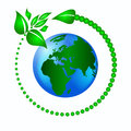 Ecology logo green leaves with an arrow around the planet earth to protect the Royalty Free Stock Photography