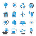 Ecology nature and environment icons vector icon set Stock Photos