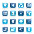 Ecology nature and environment icons vector icon set Stock Photo