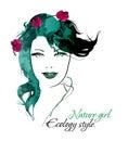 Ecology style. Beauty girl face