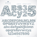 Ecology style flowery font and numbers, monochrome vector typeset made using natural ornament. Numeration from 0 to 9 and Royalty Free Stock Photo