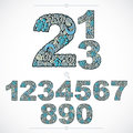 Ecology style flowery numbers, blue vector numeration made using Royalty Free Stock Photo