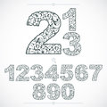 Ecology style flowery numbers, vector numeration made using natural ornament. Black and white digits created with spring leaves Royalty Free Stock Photo