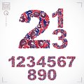 Ecology style flowery numbers, vector numeration made using natu Royalty Free Stock Photo
