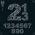 Ecology style flowery numbers, vector numeration Royalty Free Stock Photo