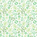 Ecology symbols seamless pattern background vector with hand drawn elements Stock Photography